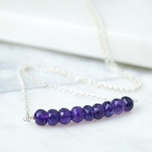 Amethyst Modern Boho Bar Necklace February Birthstone