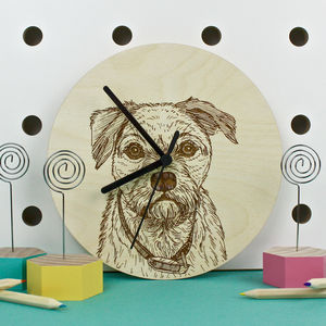 Border Terrier Portrait Wall Clock - clocks