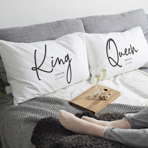 Personalised 'King And Queen' Pillow Case - bedroom