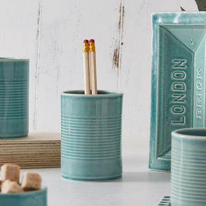 Ceramic Tin Can Shaped Cup / Pen Pot, Free Delivery