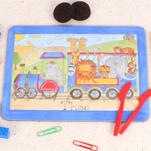 Blue Jungle Train Placemat - personalised