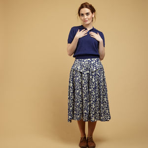 Veronica Navy Leaves Skirt