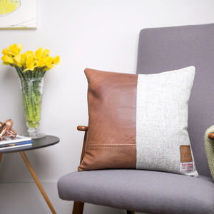 Leather And Double Harris Tweed Split Design Cushion - living room