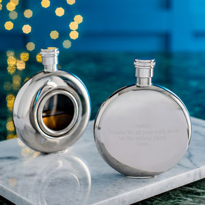 Personalised and Engraved Round Window Hip Flask - frequent traveller