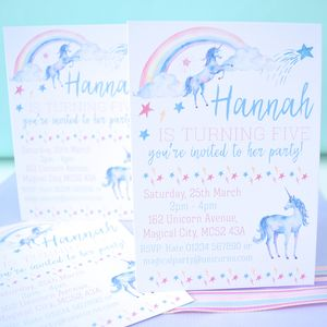 'Unicorns And Rainbows' Personalised Party Invitations