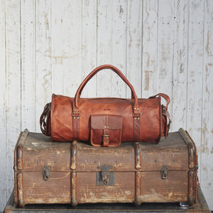 Personalised Leather Barrel Holdall - womens