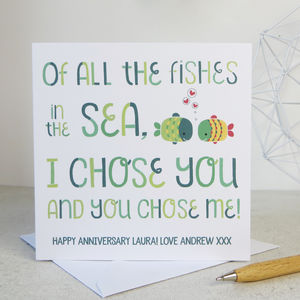 Anniversary 'Fishes In The Sea' Anniversary Card - shop by category