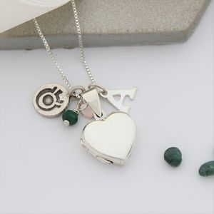 Personalised Silver Heart Locket With Birthstones - jewellery gifts for children