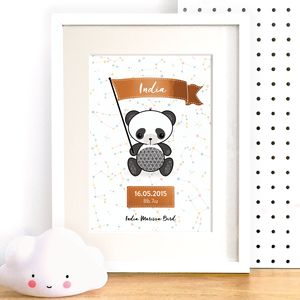 Personalised Panda Nursery Wall Art With Copper Foil