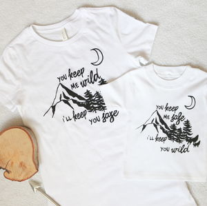Safe And Wild Mum And Child T Shirt Set - mother & child sets