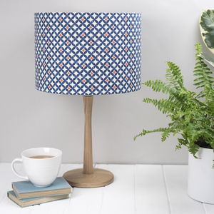 Safiya Lampshade, Geometric Blue And Orange - lamp bases & shades