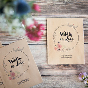10 'Wildly In Love' Personalised Seed Packet Favours