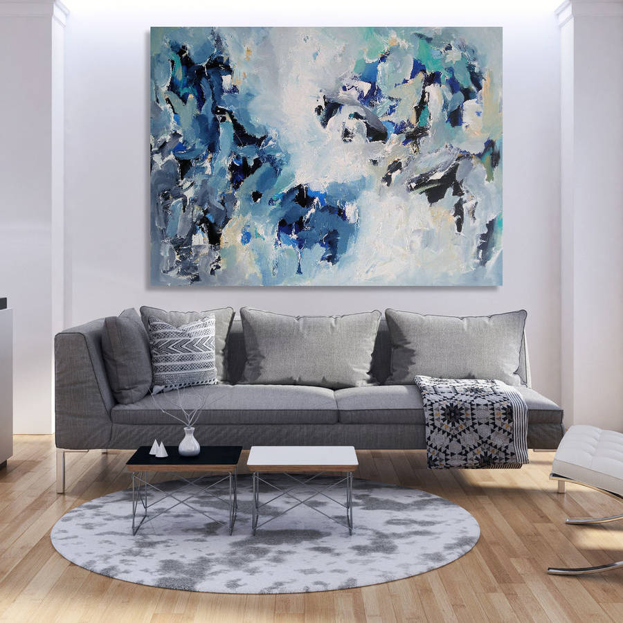 Painting Of Living Room Waterfall Original Blue Abstract Painting Living Room By Omar