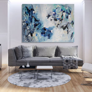Waterfall Original Blue Abstract Painting Living Room - canvas prints & art