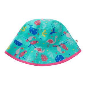 Girls Tropical Stripe Reversible Summer Sun Hat