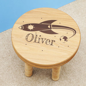 Personalised Wooden Rocket Stool