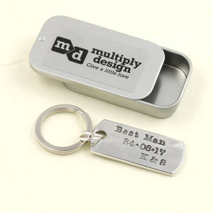 Best Man Gift Dog Tag Pewter Wedding Keyring