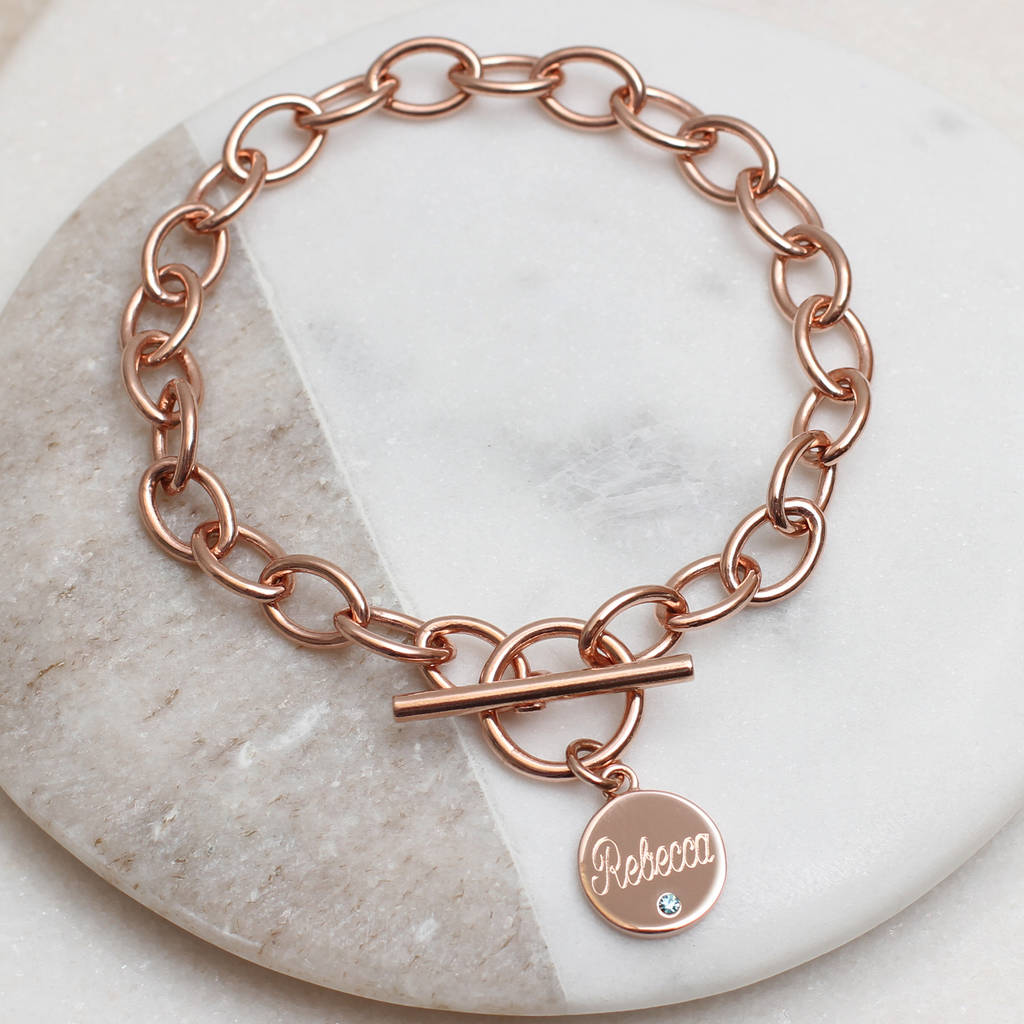 Personalised Loved Ones Rose Gold Birthstone Bracelet