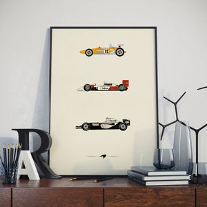 Iconic Mclaren Racing Car Collection Print