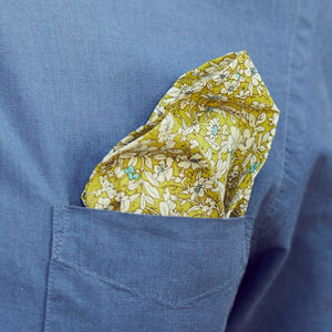 Lime Yellow Floral Pocket Square