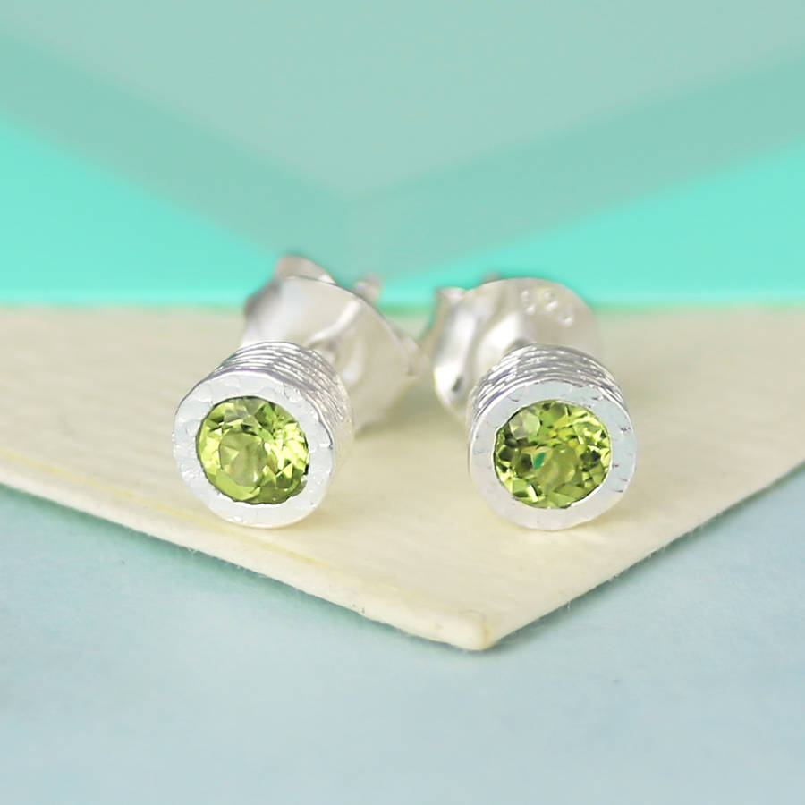 Sterling Silver Peridot August Birthstone Stud Earrings
