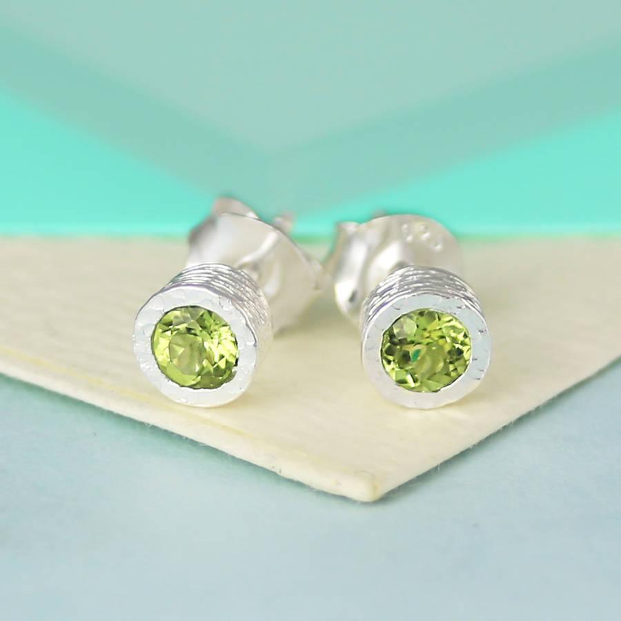 Sterling Silver Round Peridot Birthstone Stud Earrings By Embers Gemstone Jewellery Notonthehighstreet