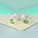 Sterling Silver Round Peridot Birthstone Stud Earrings