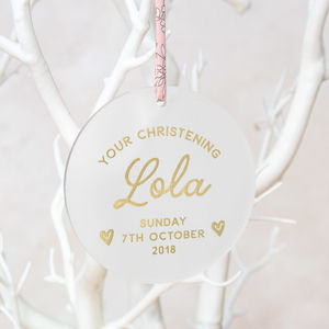 Personalised Christening Keepsake Decoration - christening gifts