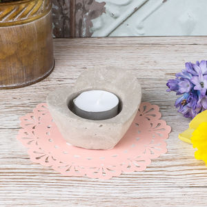 Concrete Industrial Heart Tealight Holder - home accessories