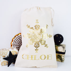 Personalised Snowflake Gold Print Christmas Sack - stockings & sacks