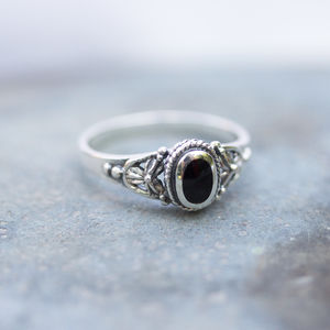 Detailed Black Onyx Sterling Silver Ring - rings