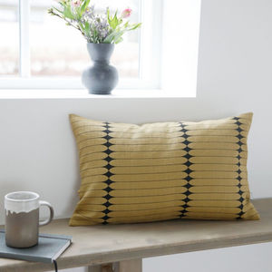 Olive And Black Rectangle Cushion - bedroom