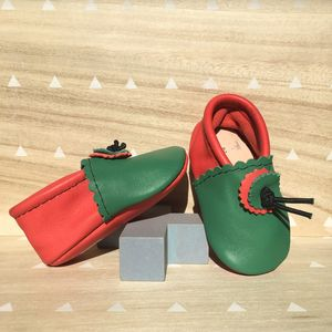 Christmas Elf Leather Baby Booties - clothing