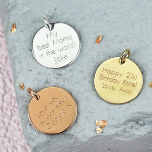 Personalised Engraved Disc Jewellery Charm