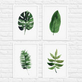 Tropical Leaf Print Set Of Four - prints & art