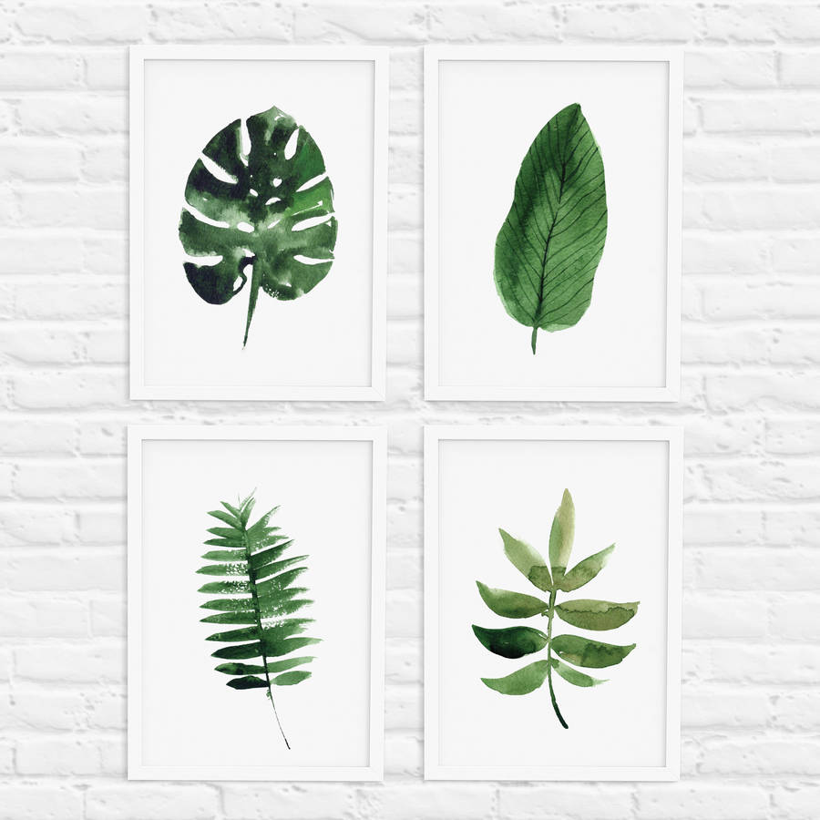 Watercolor Green Plants Monstera Nature Posters And Prints: Tropical Leaf Print Set Of Four Illustration By The