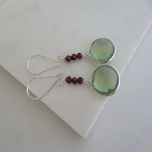 Garnet And Green Quartz Drop Earrings