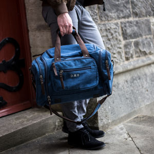 Personalised Holdall In Vintage Blue