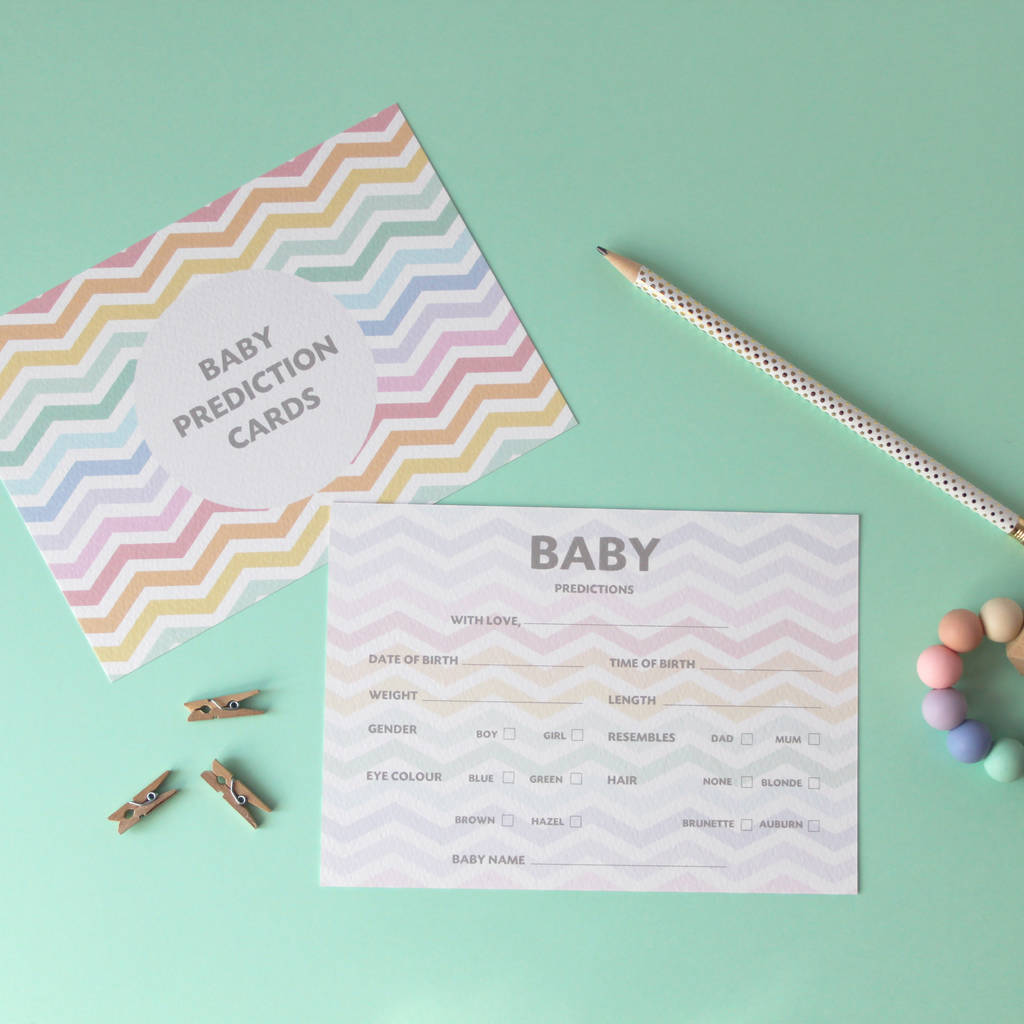Chevron Baby Shower Prediction Cards