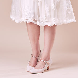 Wedding Mary Jane Shoe May Blush Ivory Suede - bridal shoes