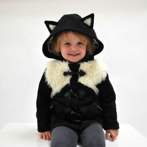 Children's Lined Animal Hooded Duffle Coat: Cat - coats & jackets