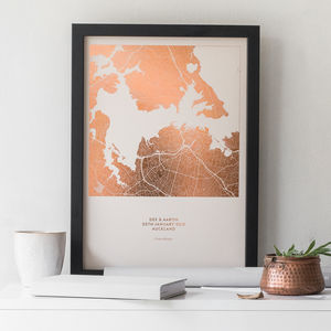 Personalised Metallic Map Print - gifts for husband or boyfriend