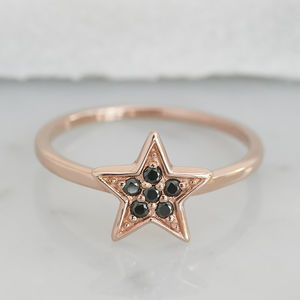 Rose Gold Star Ring With Black Stones