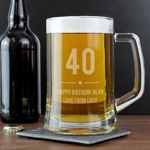 Personalised 'Milestone' Glass Tankard