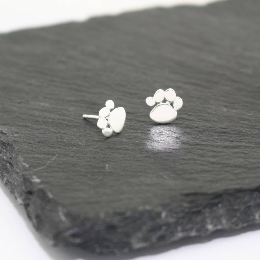 Sterling Silver Paw Print Earrings By Poppyk