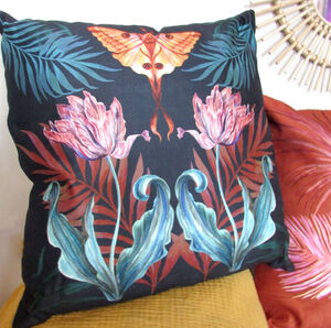 Illustrated Vegan Suede 'Flutter' Tulip Cushion
