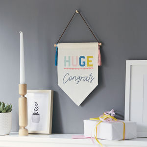 Personalised Congratulations Linen Pennant Flag