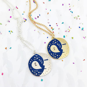 Personalised Sleepy Moon Celestial Necklace - modern-boho