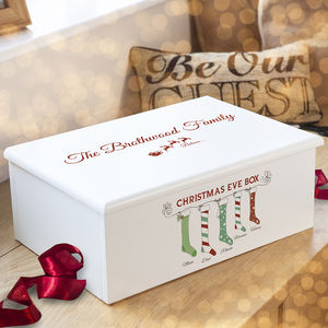 Luxury Personalised Christmas Eve Family Box - ribbon & wrap
