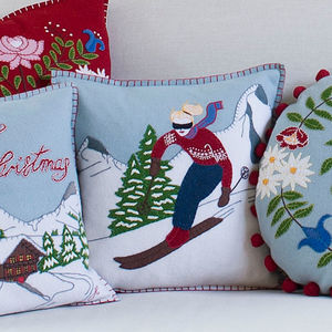 Alpine Skiing Girl Cushion